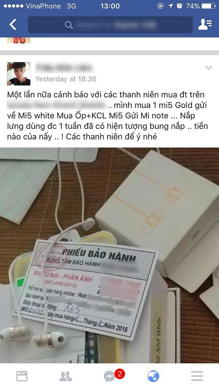 Mua Xiaomi Mi 5 vàng hàng không chính hãng, nhận được màu trắng, dùng 1 tuần bung nắp - Ảnh 1.