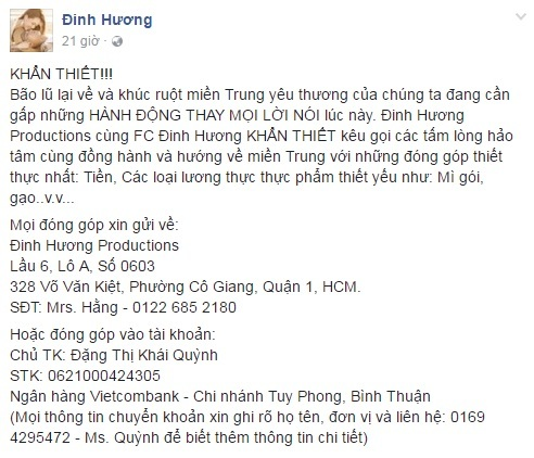 Các sao Việt cũng đang cùng chung tay giúp đỡ đồng bào lũ lụt miền Trung - Ảnh 9.
