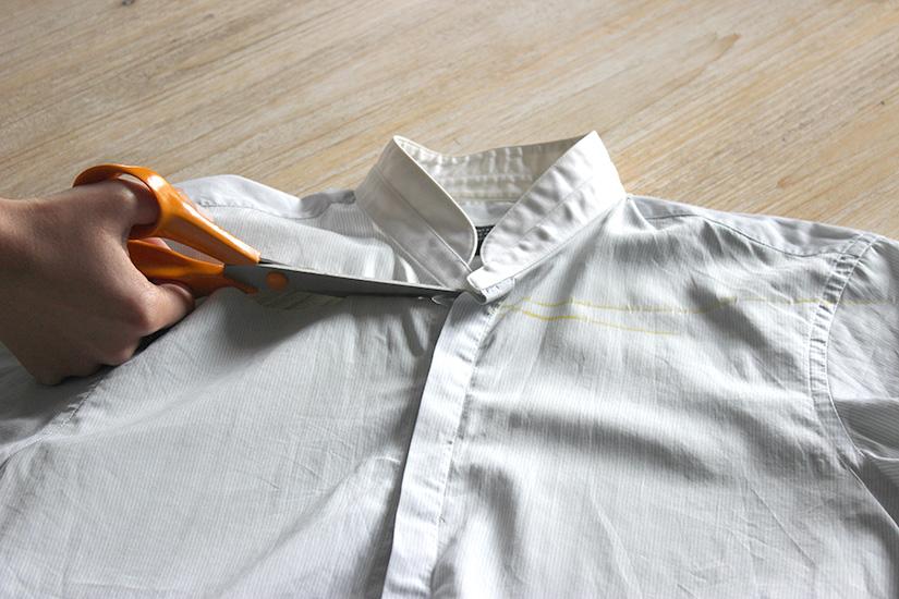 Học cách cắt áo sơ mi của bố thành áo lệch vai sexy ngày hè - Ảnh 3.