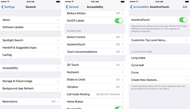 Giao diện của Assistive Touch.