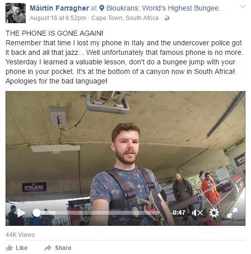 Chỉ vì chơi bungee, chàng trai này đã vô tình tiễn iPhone xuống hẻm núi - Ảnh 2.