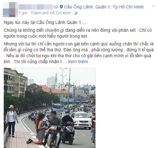 Bức ảnh cô gái quỳ gối bên cạnh chàng trai ở đường phố Sài Gòn gây xôn xao - Ảnh 1.