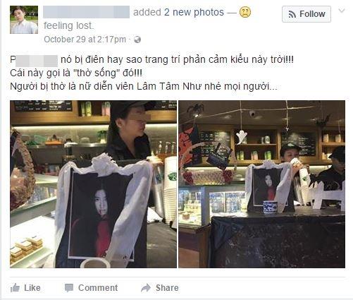 Phẫn nộ với ảnh bà bầu Lâm Tâm Như bỗng dưng lên bàn thờ trong quán cà phê ở Việt Nam - Ảnh 1.