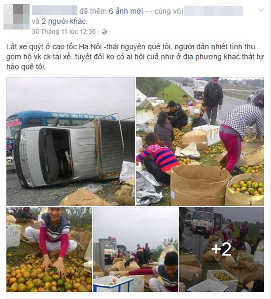 Hình ảnh đẹp: Người dân xúm vào thu gom cam giúp tài xế bị lật xe trên cao tốc Hà Nội - Thái Nguyên - ảnh 1