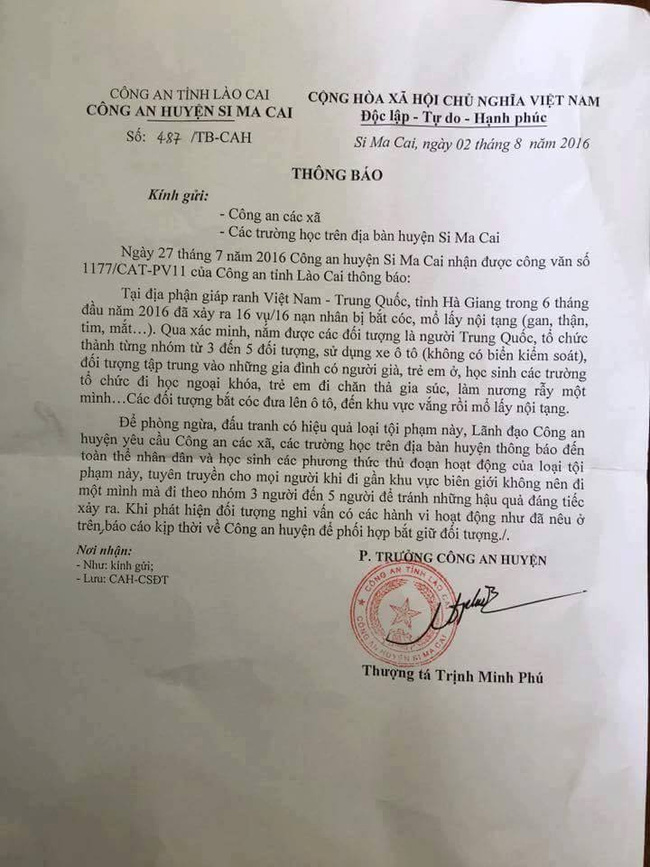 Công an Hà Giang bác bỏ thông tin 16 vụ bắt cóc mổ lấy nội tạng - Ảnh 1.
