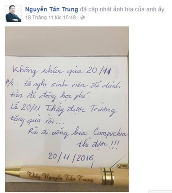 Lời nhắn dễ thương của thầy giáo ĐH Văn Hiến: Không nhận quà 20/11, đề nghị sinh viên để tiền đóng học phí - Ảnh 1.