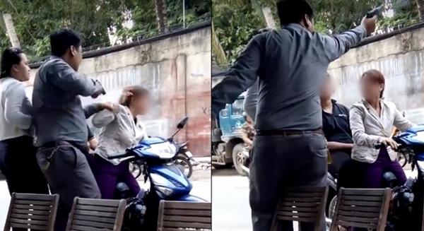 Hình ảnh người đàn ông hành hùng chỉa súng vào đầu người phụ nữ và bắn chỉ thiên