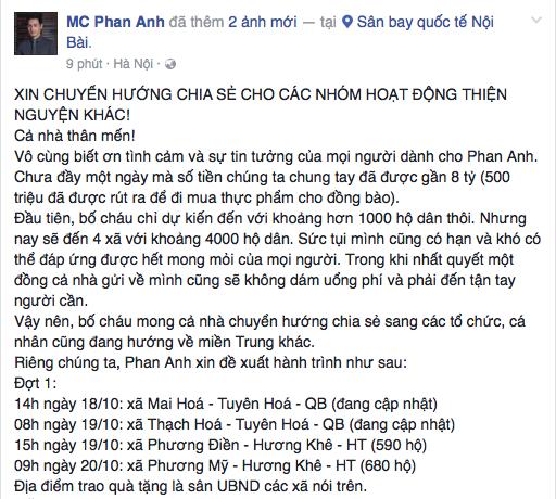 MC Phan Anh lên đường tới Đà Nẵng, công khai số tiền quyên góp lên đến 8 tỷ đồng cho đến hiện tại! - Ảnh 1.