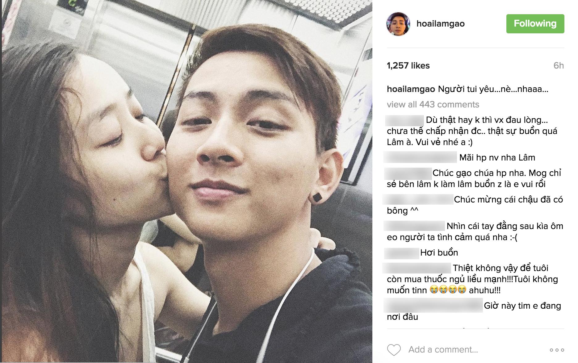 Hoài Lâm công khai người yêu xinh như hot girl, tiết lộ ảnh hôn nhau