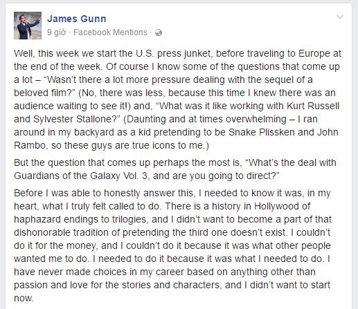 James Gunn sẽ tiếp tục làm đạo diễn và biên kịch của Guardians Of The Galaxy Vol.3 - Ảnh 1.
