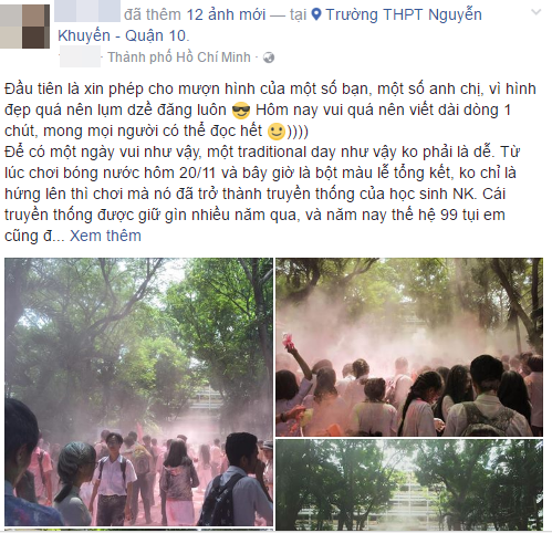 Học sinh trường THPT Nguyễn Khuyến: Sau khi chơi bột màu xong chúng em đã ở lại trường để dọn dẹp - Ảnh 2.