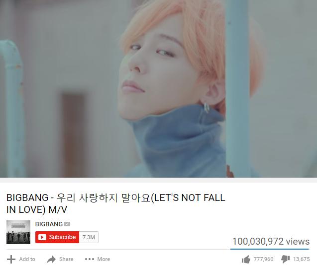Big Bang có MV thứ 7 cán mốc 100 triệu lượt xem