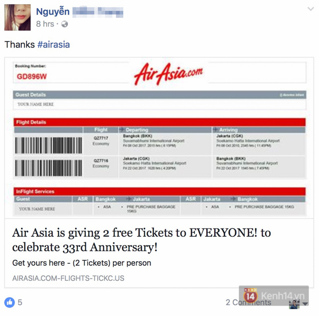 Facebook đang rộ lên trò lừa đảo tặng vé máy bay, bạn phải cẩn thận - Ảnh 2.