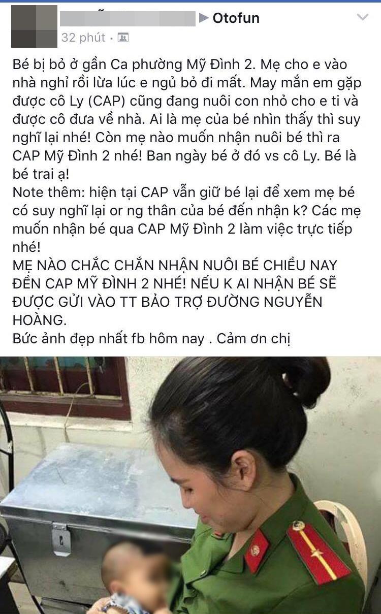 Những chia sẻ của cộng đồng mạng về hình ảnh nữ công an cho bé trai bị bỏ rơi bú sữa.