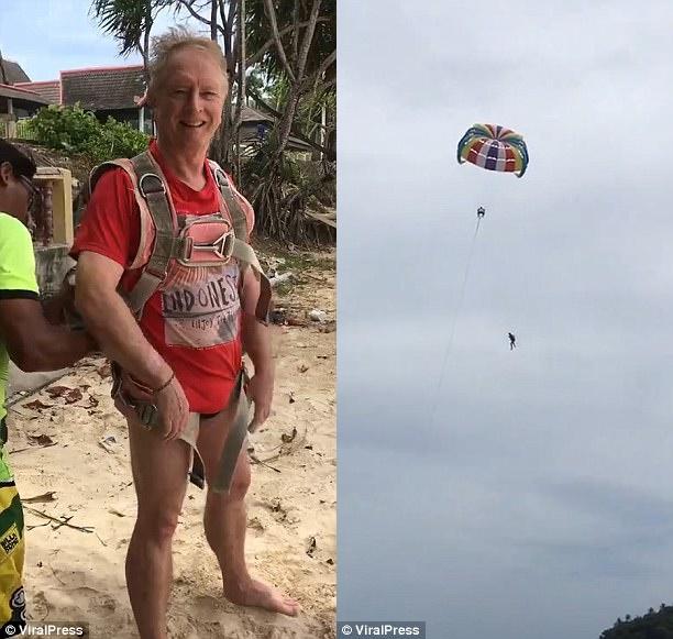 Vo vo tinh quay lai toan canh chong thiet mang vi choi du bay trong ky nghi duong o Phuket