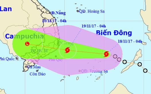 Áp thấp nhiệt đới đã mạnh thành bão số 14, đe dọa các tỉnh Nam Trung Bộ
