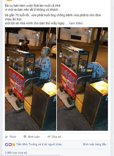 Bạn trẻ Sài Gòn rủ nhau ủng hộ cụ bà 70 tuổi bán kem nuôi chồng bệnh và cháu ăn học - Ảnh 1.