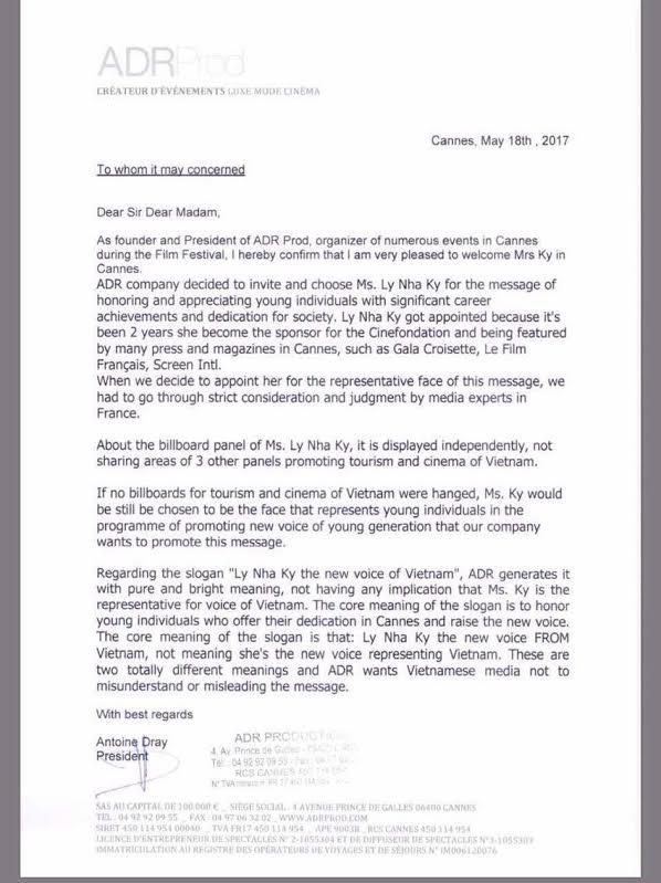Công ty tổ chức sự kiện tại Cannes gửi thư lên tiếng về tấm pano Lý Nhã Kỳ - Tiếng nói mới của Việt Nam - Ảnh 3.