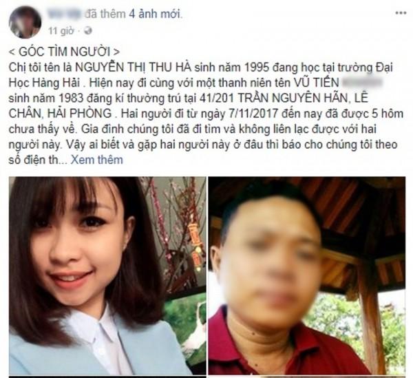 Gia đình nhờ cộng đồng mạng tìm tung tích nữ sinh Đại học Hàng Hải mất tích cùng người đàn ông mới quen - ảnh 1