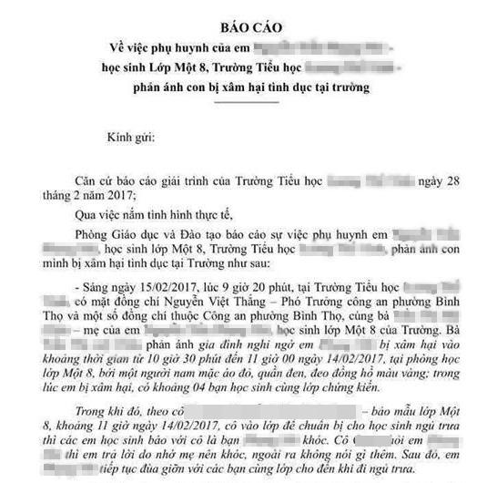 """Mẹ bé lớp 1 bị xâm hại tình dục: """"Con tôi không bị thương như vậy nếu té ngã - Ảnh 1."""