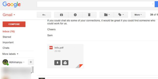 Đừng dại gì mà ấn vào tập tin đính kèm giả mạo như thế này trong Gmail nhé - Ảnh 1.
