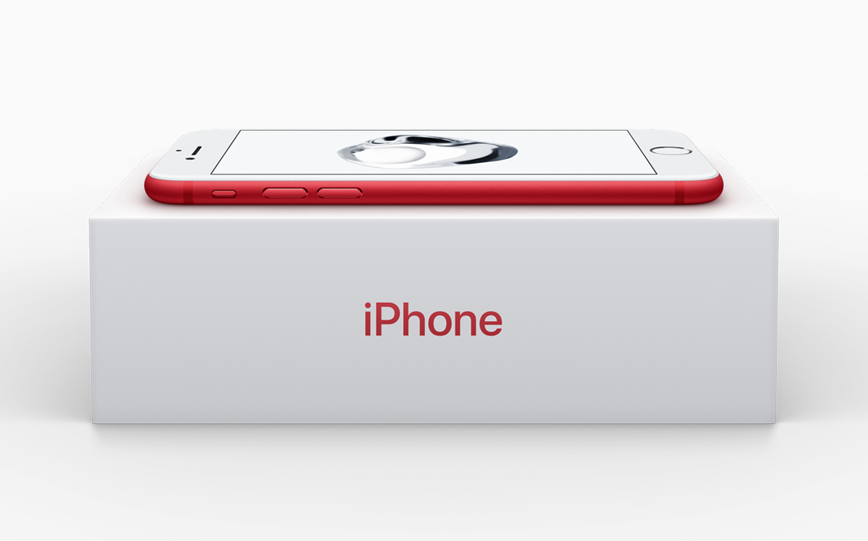 Chữ iPhone bên ngoài vỏ hộp cũng được in màu đỏ.