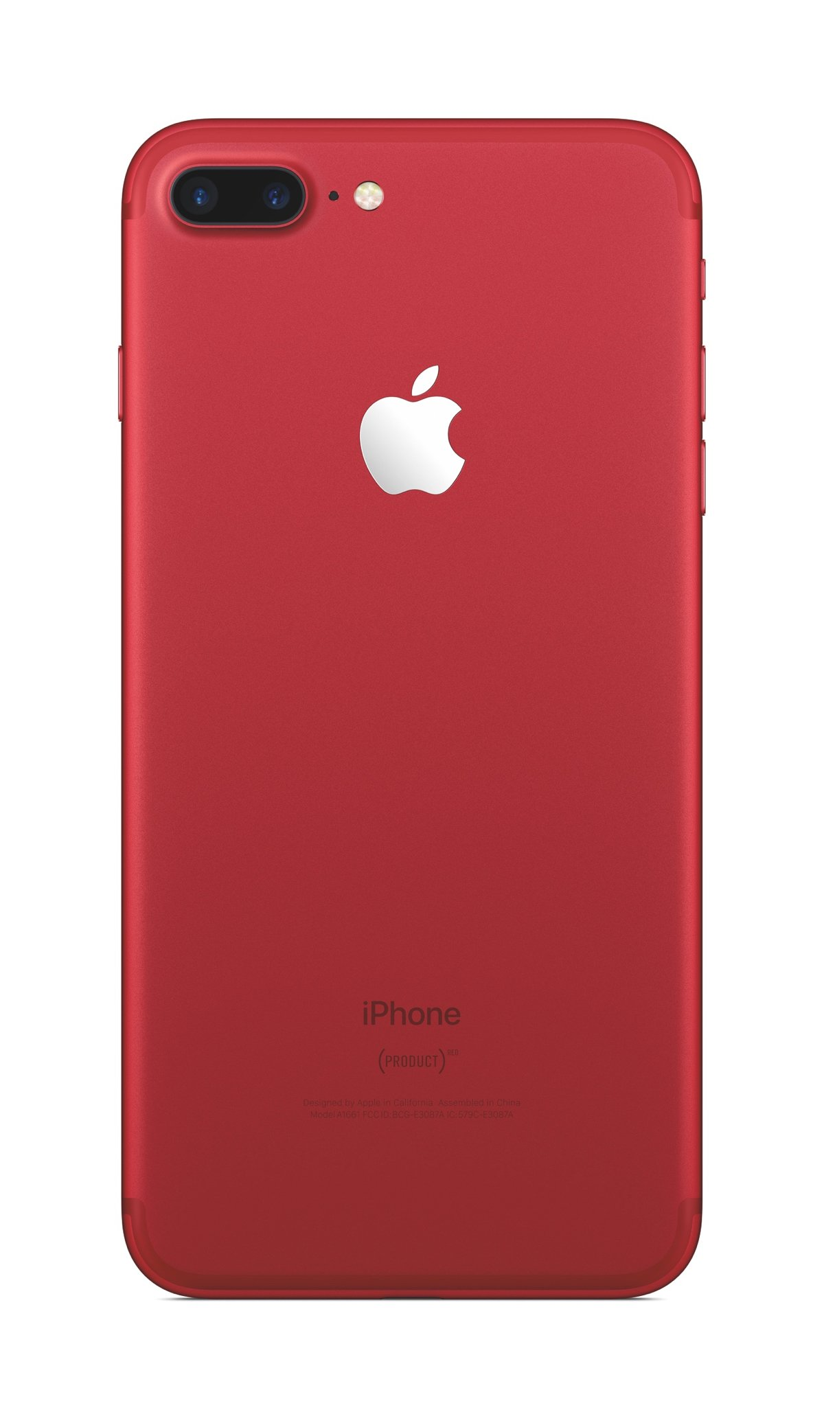 Mặt lưng chiếc iPhone 7/ 7 Plus đỏ có dòng chữ (PRODUCT)RED.