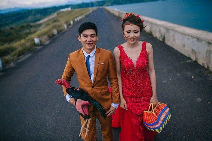 Đời sống: Ảnh cưới của chú rể mê gà chọi, chụp kiểu gì cũng được miễn là phải có gà