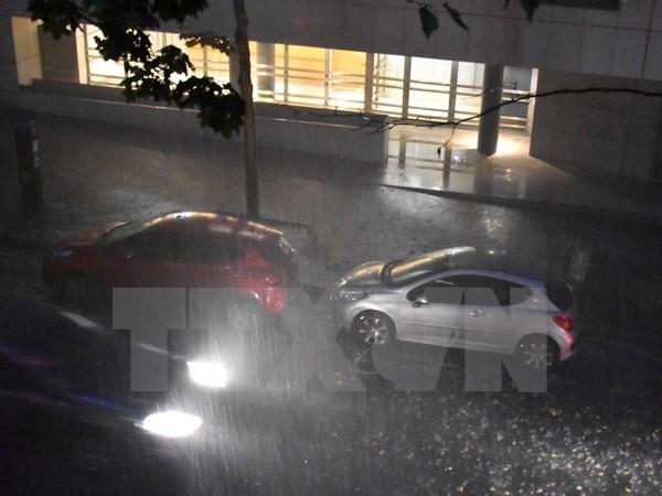Bão kèm theo mưa lớn gây ngưng trệ hệ thống tàu điện ngầm ở Paris - Ảnh 1.