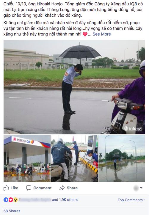 Hình ảnh được chia sẻ nhiều nhất hôm nay: Ông chủ người Nhật đội mưa, cúi gập người chào khách vào đổ xăng ở Hà Nội - Ảnh 1.
