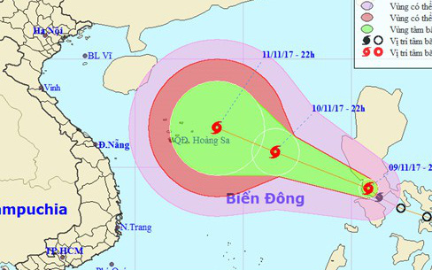 Áp thấp nhiệt đới đã mạnh lên thành bão Haikui, tiếp tục tăng cấp tiến thẳng vào biển Đông