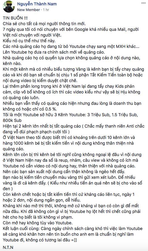 Youtube thắt chặt chính sách quảng cáo, Youtuber hàng đầu Việt Nam khuyên mọi người nghỉ làm Youtube - Ảnh 2.
