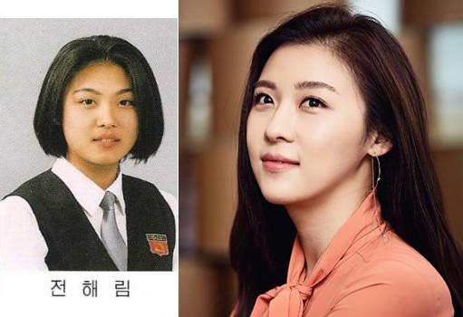 Ha Ji Won thời đi học (bên trái) có gương mặt khá to tròn so với bây giờ
