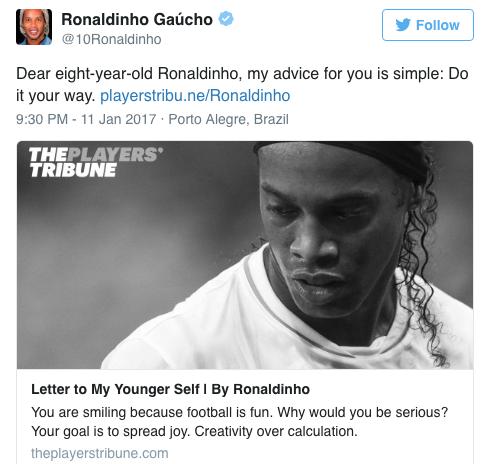 Ronaldinho gửi thư cho chính mình: Thứ bóng đá tự do như chim trời là đây - Ảnh 1.