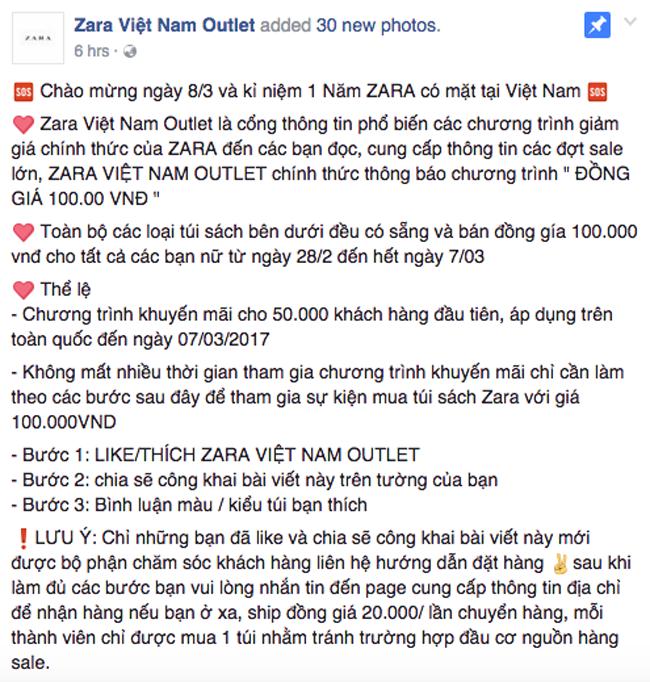 Thông tin về Zara Việt Nam Outlet, sale đồng giá 100.000 đồng hoàn toàn là lừa đảo! - Ảnh 2.