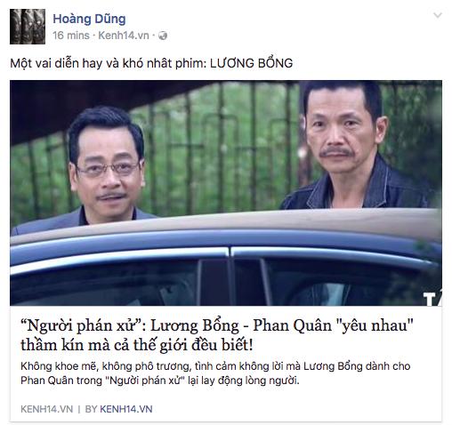 NSND Hoàng Dũng chia sẻ bài viết về Bổng - Quân khiến khán giả theo dõi bất ngờ