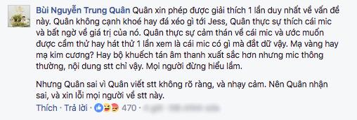 Sau Rocker Nguyễn, đến lượt Trung Quân Idol lên tiếng xin lỗi vì bị fan cho rằng cạnh khoé mic 1 tỷ 3 của Jessica - Ảnh 4.