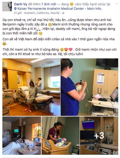 Vy Oanh đã hạ sinh nhóc tì thứ hai tại Mỹ - Ảnh 1.