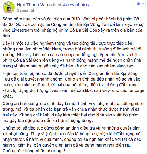 Ngô Thanh Vân quyết không nhân nhượng, mời công an vào cuộc xử lý hành vi livestream lậu phim Cô Ba Sài Gòn - ảnh 2