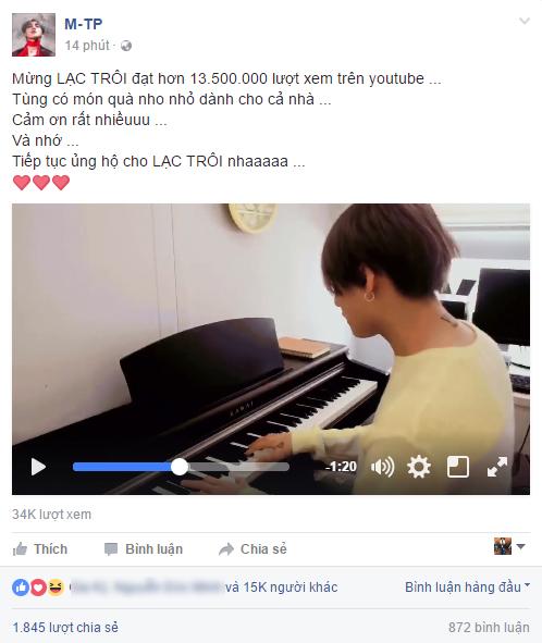 Clip: Sơn Tùng tự đệm đàn hát Lạc Trôi mừng MV đạt hơn 13 triệu lượt xem - Ảnh 2.