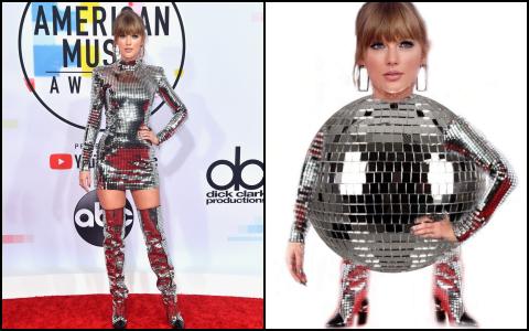 Nếu để gọi tên bộ trang phục của Taylor Swift tham dự AMA 2018 thì đó hẳn phải là quả cầu disco