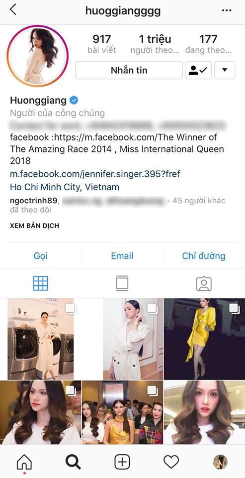 Hương Giang chính là Hoa hậu đầu tiên ở Việt Nam cán mốc 1 triệu lượt follower trên instagram