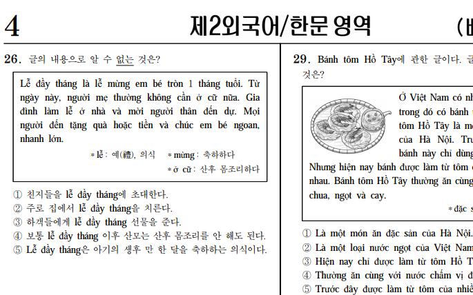 Đề thi môn Ngoại ngữ Tiếng Việt siêu khó tại kỳ thi ĐH Hàn Quốc 2018: Hỏi về lễ đầy tháng trẻ con, bánh tôm Hồ Tây, Vua Hùng