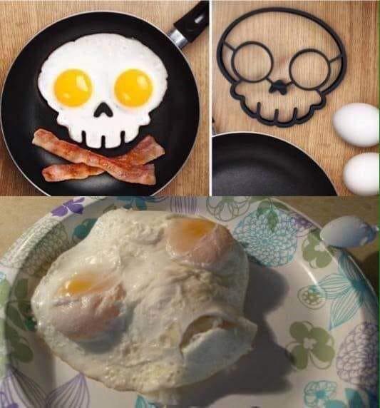 Mua hẳn khuôn về ốp trứng cho ngầu, chủ thớt cho ra tác phẩm tái hiện mặt người ngoài hành tinh - Ảnh 1.