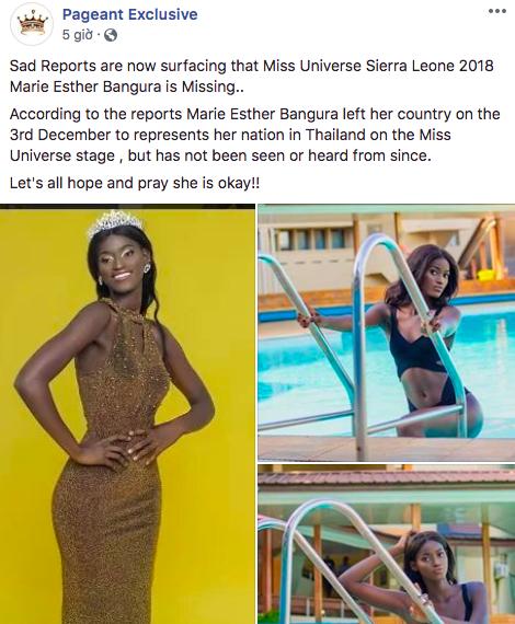 Thí sinh Miss Universe 2018 mất tích bí ẩn trên hành trình đến Thái Lan dự thi? - ảnh 2