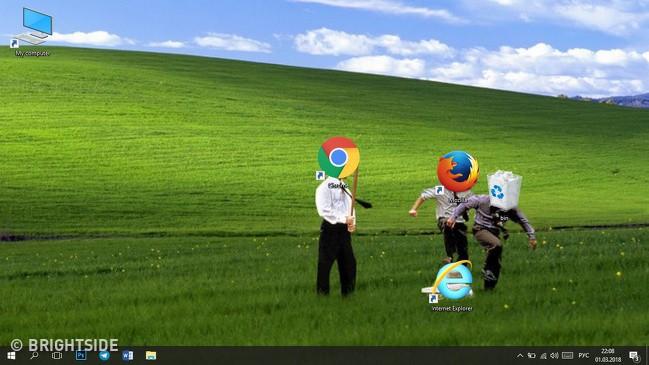 Vui: Tổng hợp loạt hình nền máy tính hài hước nhất, Internet Explorer chuyên bị bắt nạt - ảnh 12