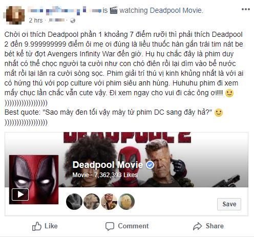 Fan Việt cười sảng sau khi xem bom tấn hài bựa Deadpool 2 - ảnh 3