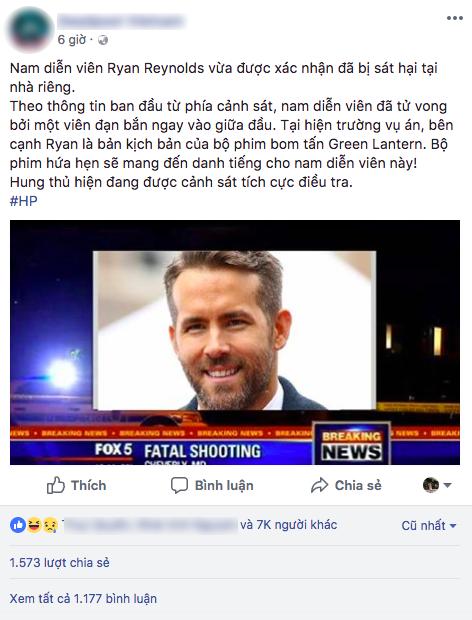 Sự thật về thông tin Deadpool Ryan Reynolds bị bắn chết lan truyền rầm rộ trên mạng - ảnh 1