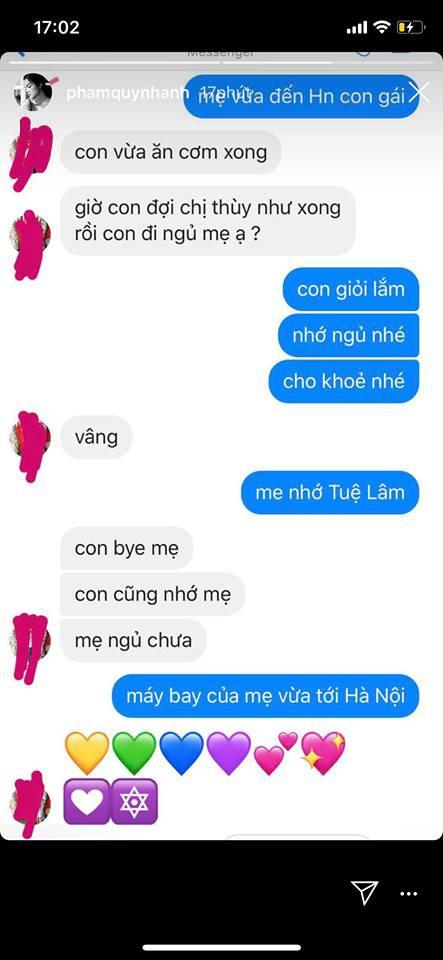 Mới 6 tuổi, con gái Phạm Quỳnh Anh đã biết quan tâm, nhắn tin hỏi thăm khi mẹ đi diễn xa - ảnh 1
