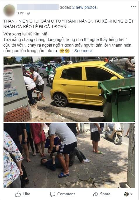 Thực hư vụ thanh niên ngủ dưới gầm ô tô để tránh nắng, tài xế không biết kéo lê 1 đoạn trên đường - Ảnh 1.